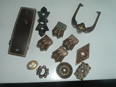 Collection of Victorian Vintage Door Key Plates, Table Legs, Drawer Pull
