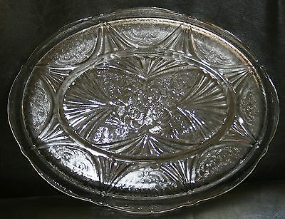 Vintage Hazel Atlas Crystal Depression Glass Royal Lace Oval Serving Platter Wow