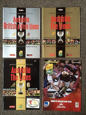 Complete Set Of 10 Programmes From 2001 British Lions Tour To Australia