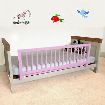 Safetots Wooden Bed Rail Pink - Girls Wood Bedguard, Deluxe Bed Guard