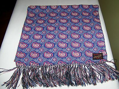 "Vintage Mens Scarf by FORSYTH Paisley Design w/ Knotted Fringe sz. 45""x11 1/2"""