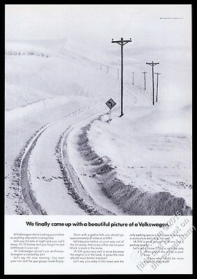 1969 VW Volkswagen Beetle car tire tracks in snow photo vintage print ad
