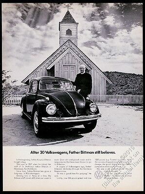 1969 VW Volkswagen Beetle classic car North Dakota priest photo vintage ad