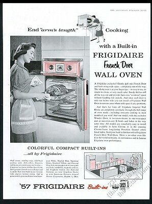 1957 Frigidaire French Door wall oven housewife photo vintage print ad
