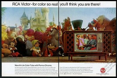 1966 Walt Disney photo Disneyland castle character photo RCA TV vintage print ad