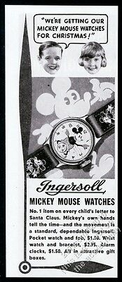 1934 Ingersoll Mickey Mouse watch photo Christmas vintage print ad