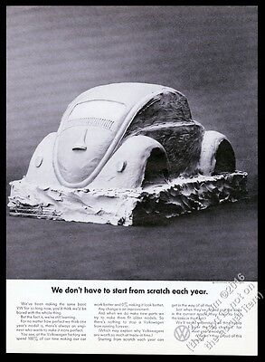 1969 VW Volkswagen Beetle classic car clay model photo vintage print ad
