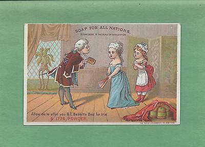 COLONIAL SALESMAN SHOWS BABBITT'S SOAP TO LADIES Colorful Victorian Trade Card