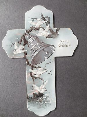 Antique Christmas Greetings Card Cross Shaped Die Cut Embossed Bell White Doves