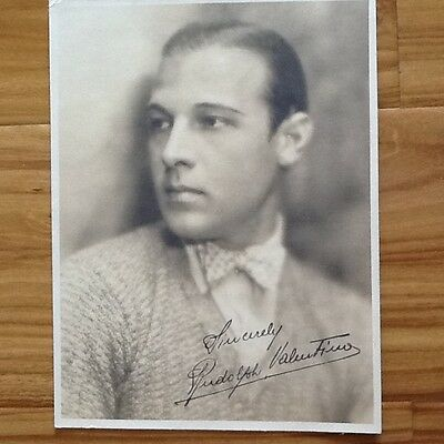 Rudolph Valentino SIGNED 20s double weight Photo Silent Film Actor  Beautiful