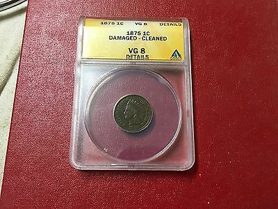 1875 Indian Head Cent, VG 8 Details,ANACS,Free Shipping