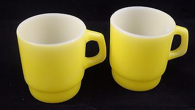,lot Of 2 Vintage Fire King Yellow Stackable Coffee Cup / Mug Anchor Hocking