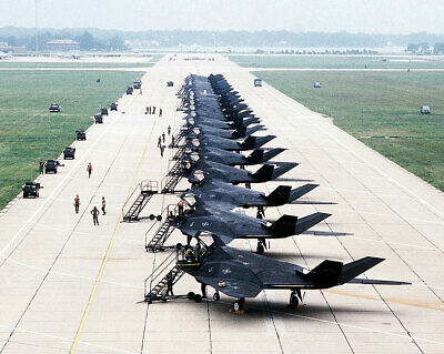 F-117A / F-117 STEALTH FIGHTERS FLIGHT LINE 8x10 SILVER HALIDE PHOTO PRINT