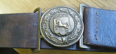 Old Military Leather Belt / Brass Buckle