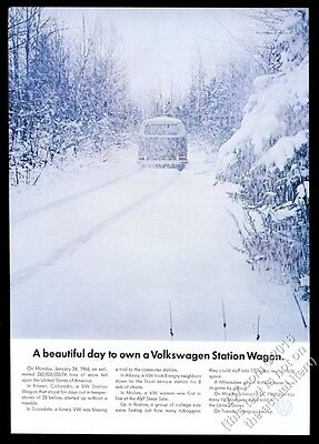 1966 VW Volkswagen bus microbus in deep snow photo vintage print ad