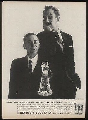 1956 Vincent Price Billy Pearson photo Heublein cocktail vintage print ad