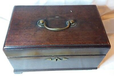 Antique Vintage wooden Tea Caddy Box for restoration mahogany with handle on lid
