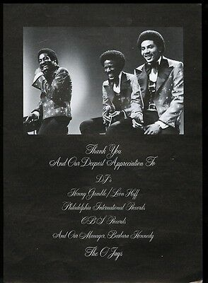 1975 The O Jays photo music industry thank you trade print ad