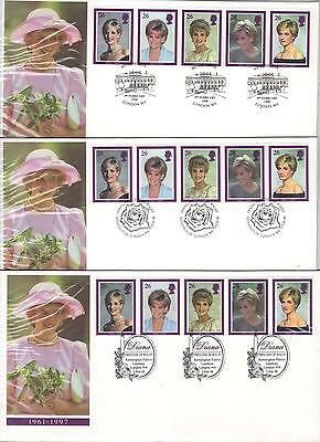PRINCESS  DIANA 3 FDCs with DIFFERENT POSTMARKS  (see scan)