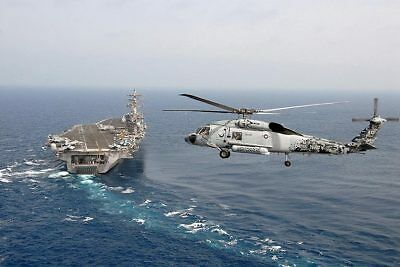 SH-60F Helicopter w/ USS Dwight D. Eisenhower 8x12 Silver Halide Photo Print