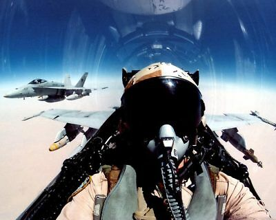 F/A-18 View of Pilot in Cockpit F-18 8x10 Silver Halide Photo Print