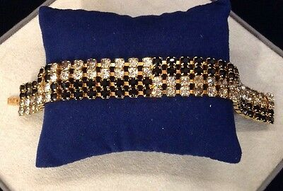Signed Hobe Black And White Rhinestone Gold Tone Bracelet 7""