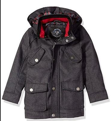 New URBAN REPUBLIC Size 10-12 -Gray Boys Winter Wool Blend Coat Jacket - M