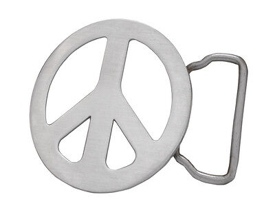 Brushed Metal Peace Sign Hippie Belt Buckle RETRO