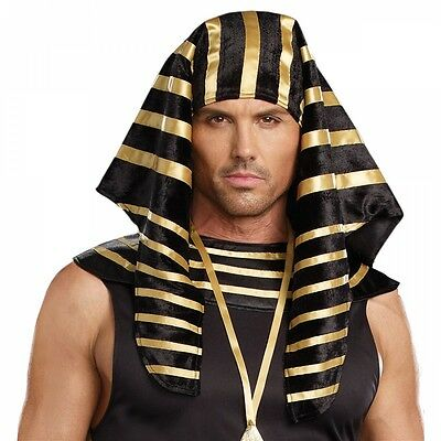 Pharaoh Headdress Adult Mens Egyptian Costume Halloween Fancy Dress