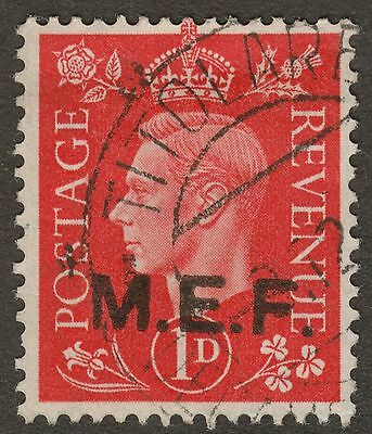 Middle East Forces 1942 KGVI 1d overprint M2a Rough Letters Used SG M6a cat £18
