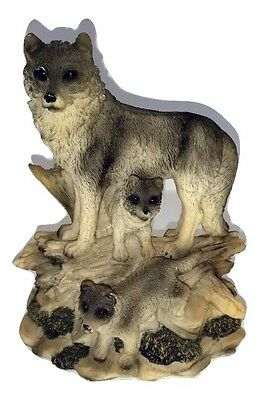 Wolf Statue Resin Animal Wildlife Figurine Wolves w/ Baby Cubs Figure 7-1/2 Tall