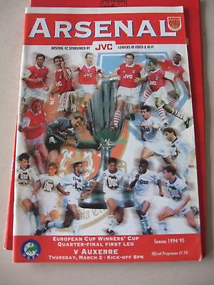 1994-95 Arsenal v Auxerre Cup winners Cup Quarter final 1st leg 2.3.1995