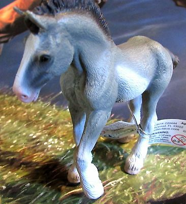 """Corral Pals 4"""" Black Sabino Roan Clydesdale Horse Foal Breyer by CollectA #88626"""