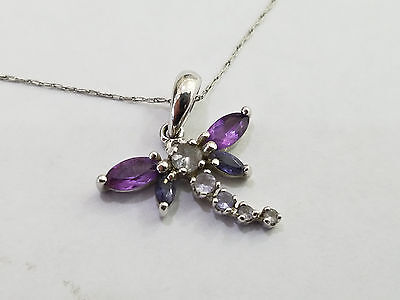10k White Gold & Amethyst Necklace 1.5 Grams - 4939