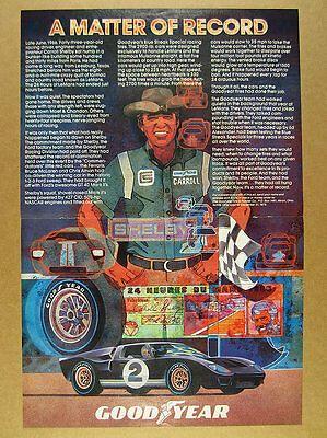 1978 Carroll Shelby Ford GT40 Mk II Le Mans art Goodyear Tires vintage print Ad