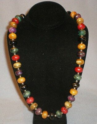 Vintage Plastic Multi Colored Beads And Gold Beads