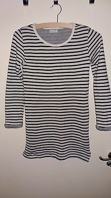Girl's Black mix stripey long stretchy long sleeve top by NEXT age 11yrs