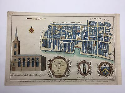 1755 Antique PLAN of QUEEN HITH WARD & VINTRY MAP LONDON COPPER ENGRAVING B COLE