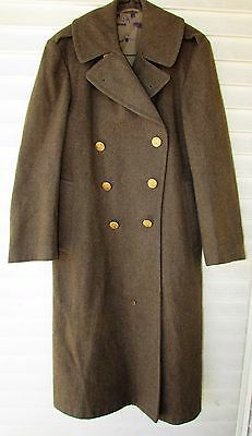 Vtg 40s WWII Men US Army Military Olive Green HEAVY Wool Long Trench Coat 42R