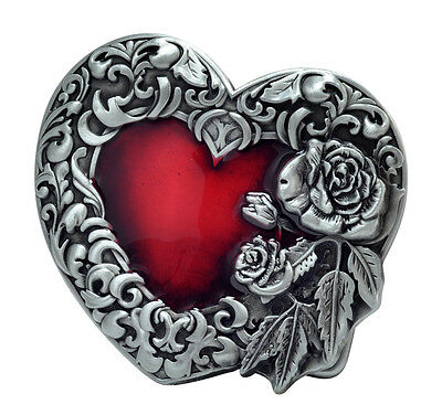 Red Enamel Heart Silver Belt Buckle Girly Cute Unique Metal New Hip Cool