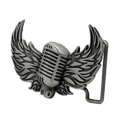 Silver Vintage Mic Wings Belt Buckle Brushed Metal Music Cool Unique Hip New