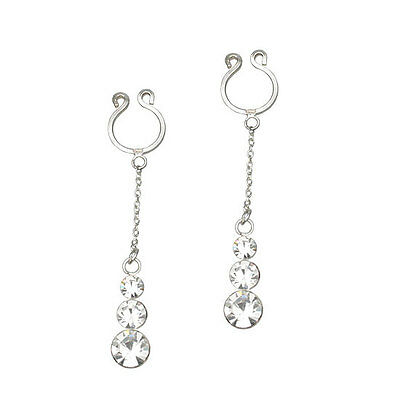 TRIPLE Solitaire Non-Piercing Clip On Nipple Ring PAIR
