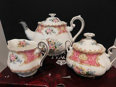 Royal Albert Lady Carlyle Teapot & Covered Sugar Bowl & Creamer Excellent 2003