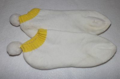 Vintage Pom Pom Socks Tennis Golf Booties Yellow Terry Lined