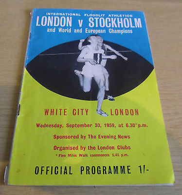 London v Stockholm Sweden Athletics 1959 Programme @ White City Stadium