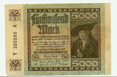German Banknote Weimar Republic 5000 Mark 1922 Watermark [1]
