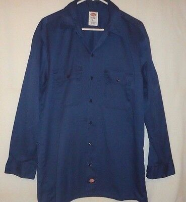 Dickies Mens Size L Blue Long Sleeve Polyester Cotton Blend Work Shirt w/Pockets