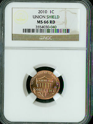 2010 Lincoln Cent Shield Ngc Ms-66 Business Strike  *