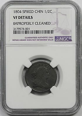 1804 Spiked Chin Draped Bust Half Cent 1/2C VF Details NGC