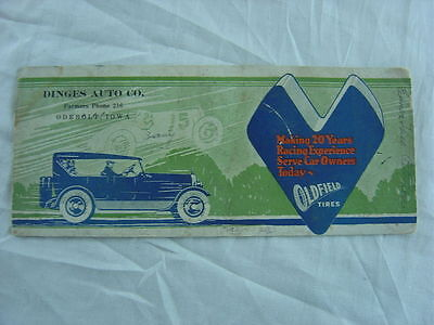 Vintage Blotter 1920s Car Oldfield Tires 010001